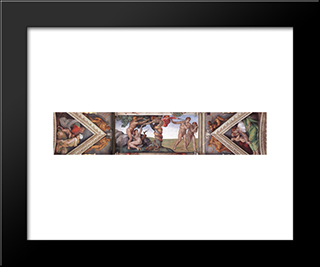 Ceiling Of The Sistine Chapel - Bay 4: Modern Custom Black Framed Art Print by Michelangelo
