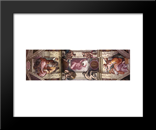 Ceiling Of The Sistine Chapel - Bay 9: Modern Custom Black Framed Art Print by Michelangelo