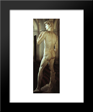 David [Detail: Side Rear View]: Modern Custom Black Framed Art Print by Michelangelo