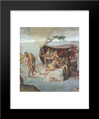 Ceiling Of The Sistine Chapel: Genesis, Noah 7-9: The Flood, Right View: Modern Custom Black Framed Art Print by Michelangelo