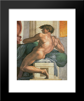 Ceiling Of The Sistine Chapel: Ignudi, Next To Separation Of Land And The Persian Sybil [Right]: Modern Custom Black Framed Art Print by Michelangelo