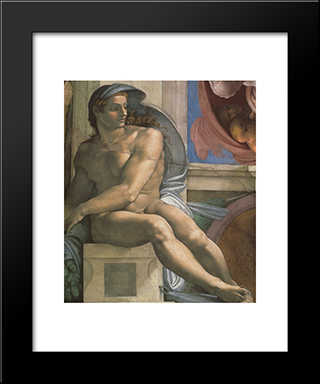 Ceiling Of The Sistine Chapel: Ignudi, Next To Separation Of Land And The Persian Sybil [Left]: Modern Custom Black Framed Art Print by Michelangelo