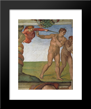 Ceiling Of The Sistine Chapel: Genesis, The Fall And Expulsion From Paradise - The Expulsion: Modern Custom Black Framed Art Print by Michelangelo