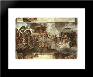 The Universal Flood: Modern Custom Black Framed Art Print by Michelangelo