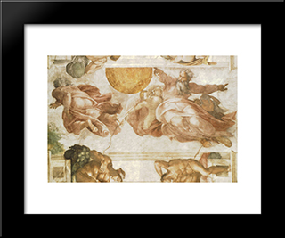 The Creation Of The Sun: Modern Custom Black Framed Art Print by Michelangelo