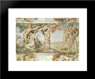 The Fall Of Adam And Eve: Modern Custom Black Framed Art Print by Michelangelo