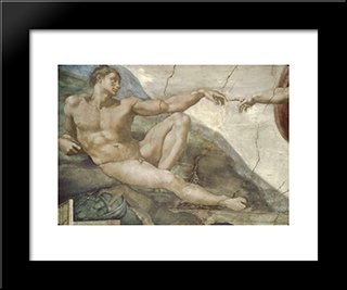 The Creation Of Man (Detail): Modern Custom Black Framed Art Print by Michelangelo