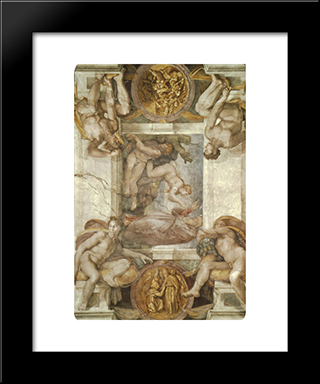 The Creation Of Eve: Modern Custom Black Framed Art Print by Michelangelo