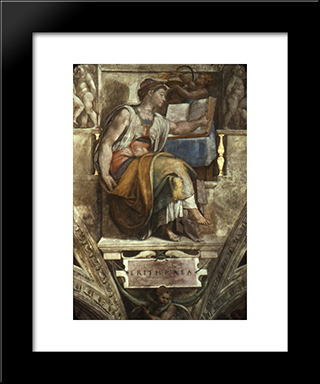 The Erithrean Sibyl: Modern Custom Black Framed Art Print by Michelangelo