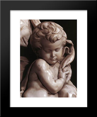 Madonna And Child [Detail: 3]: Modern Custom Black Framed Art Print by Michelangelo