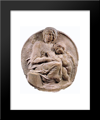 Madonna (Tondo Pitti): Modern Custom Black Framed Art Print by Michelangelo