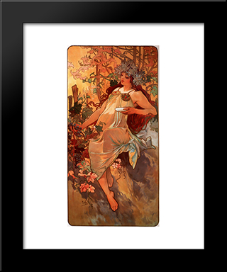 Autumn: Modern Custom Black Framed Art Print by Alphonse Mucha