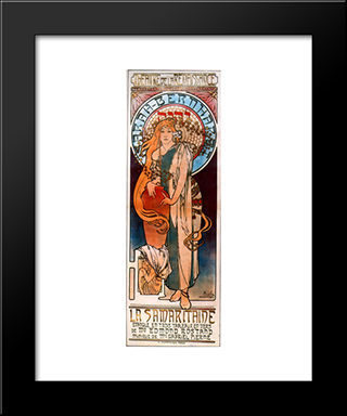 La Samaritaine: Modern Custom Black Framed Art Print by Alphonse Mucha