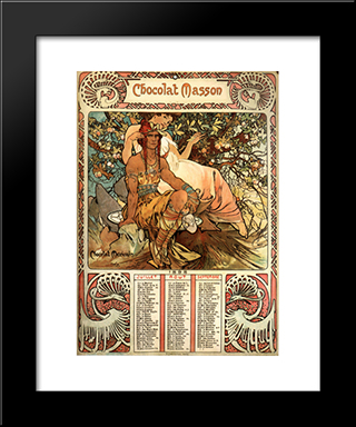 Manhood (Calendar): Modern Custom Black Framed Art Print by Alphonse Mucha