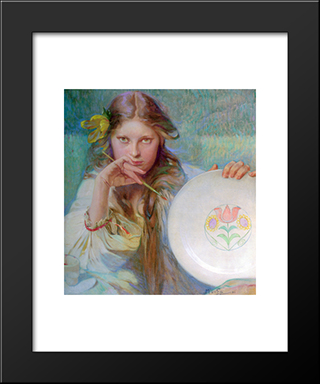 The Artist: Modern Custom Black Framed Art Print by Alphonse Mucha