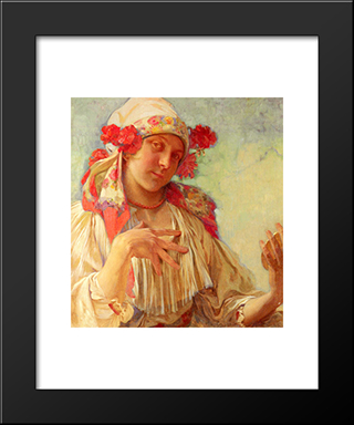 Young Girl In A Moravian Costume: Modern Custom Black Framed Art Print by Alphonse Mucha