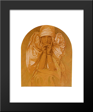 Portrait Of The Artist'S Daughter, Jaroslava: Modern Custom Black Framed Art Print by Alphonse Mucha
