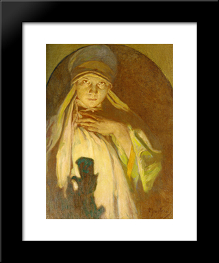 The Enchantress: Modern Custom Black Framed Art Print by Alphonse Mucha