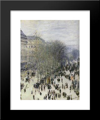 Boulevard Des Capucines: Modern Custom Black Framed Art Print by Claude Monet