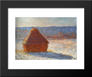 Meules, Effet De Neige, Le Matin: Modern Custom Black Framed Art Print by Claude Monet