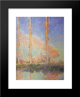 Poplars: Modern Custom Black Framed Art Print by Claude Monet