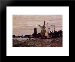 A Windmill At Zaandam: Modern Custom Black Framed Art Print by Claude Monet