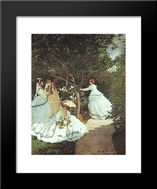 The Women In The Garden: Modern Custom Black Framed Art Print by Claude Monet
