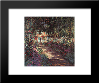 The Garden In Flower: Modern Custom Black Framed Art Print by Claude Monet