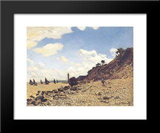 Beach At Honlfeux: Modern Custom Black Framed Art Print by Claude Monet
