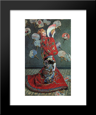 La Japonaise: Modern Custom Black Framed Art Print by Claude Monet