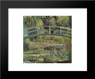 The Waterlily Pond: Modern Custom Black Framed Art Print by Claude Monet