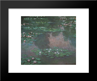Water Lillies I: Modern Custom Black Framed Art Print by Claude Monet