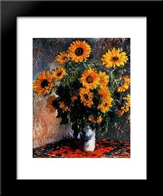 Sunflowers: Modern Custom Black Framed Art Print by Claude Monet