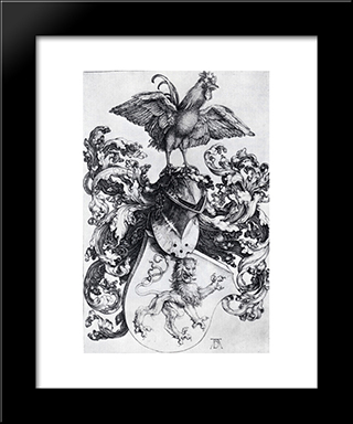 Coat-Of-Arms With Lion And Rooster: Modern Custom Black Framed Art Print by Albrecht Durer