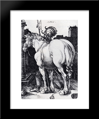 The Large Horse: Modern Custom Black Framed Art Print by Albrecht Durer