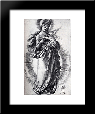 The Virgin On The Crescent With A Crown Of Stars (First State): Modern Custom Black Framed Art Print by Albrecht Durer