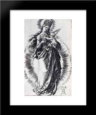 The Virgin On The Crescent With A Crown Of Stars (Second State): Modern Custom Black Framed Art Print by Albrecht Durer