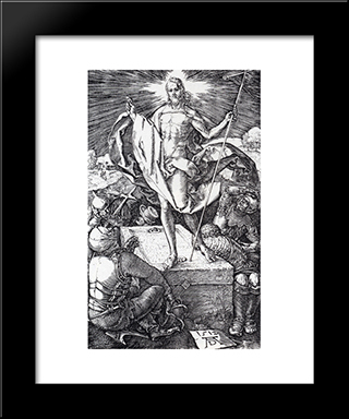 Resurrection (Engraved Passion): Modern Custom Black Framed Art Print by Albrecht Durer