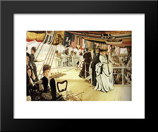 The Ball On Shipboard: Modern Custom Black Framed Art Print by James Tissot