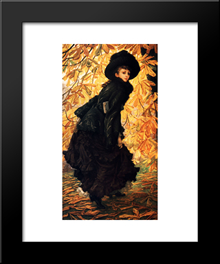 October: Modern Custom Black Framed Art Print by James Tissot