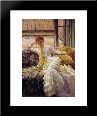 Seaside: Modern Custom Black Framed Art Print by James Tissot
