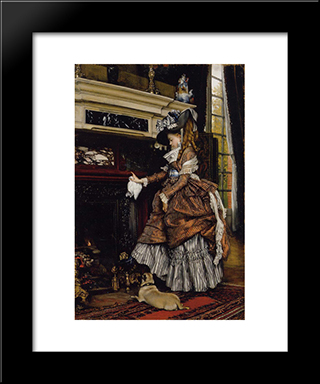 The Fireplace: Modern Custom Black Framed Art Print by James Tissot