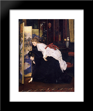 Young Women Looking At Japanese Objects: Modern Custom Black Framed Art Print by James Tissot
