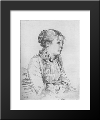 Portrait De Femme: Modern Custom Black Framed Art Print by James Tissot