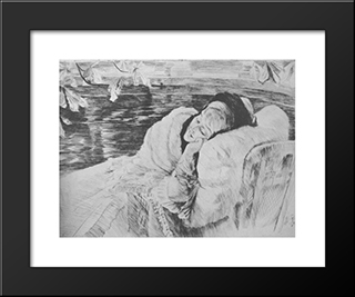 Une Convalescente: Modern Custom Black Framed Art Print by James Tissot