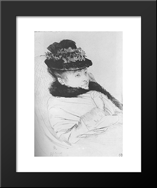 La Convalescente: Modern Custom Black Framed Art Print by James Tissot
