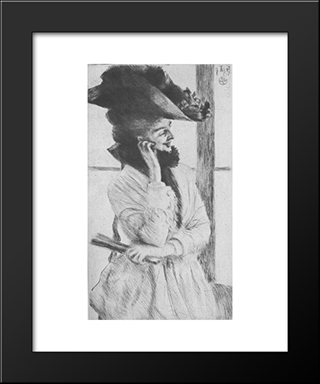 By The Window: Modern Custom Black Framed Art Print by James Tissot