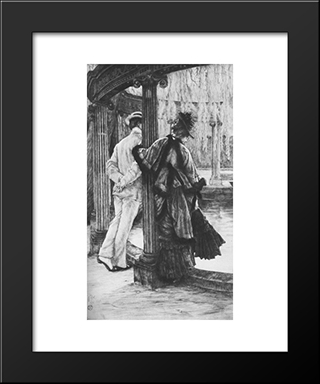 Lover'S Tiff: Modern Custom Black Framed Art Print by James Tissot