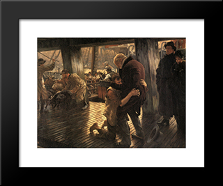 The Prodigal Son In Modern Life: The Return: Modern Custom Black Framed Art Print by James Tissot