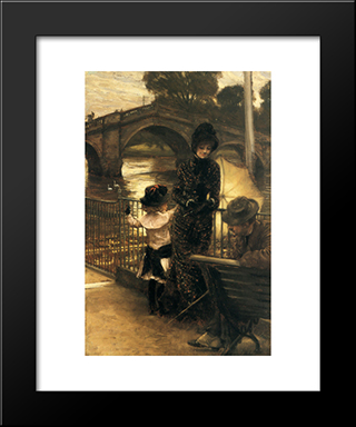 By The Thames At Richmond: Modern Custom Black Framed Art Print by James Tissot